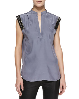 Barrow Cap-Sleeve Top w/ Beaded Trim
