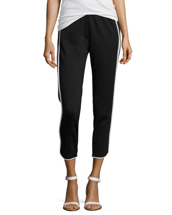 Contrast-Piped Slim Track Pants, Black/White