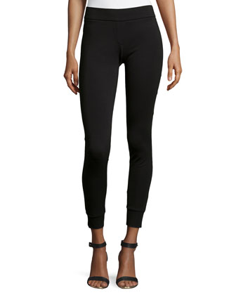 Tapered-Cuff Leggings, Black