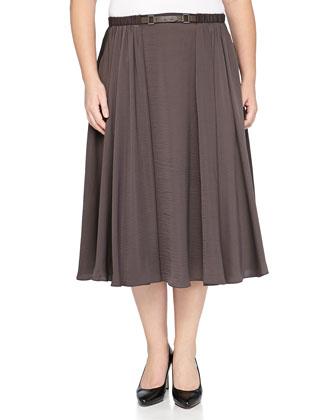 Belt-Detail Maxi Skirt, Bark