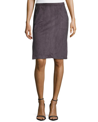 Ultrasuede?? Slit Pencil Skirt, Charcoal