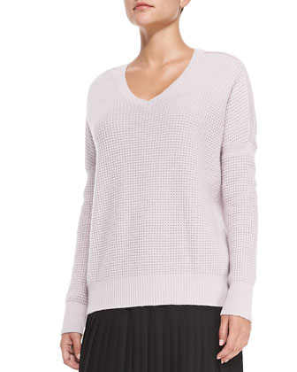 V-Neck Waffle-Rib Sweater, Thermal Waffle-Pattern Scarf & Mid-Calf Pleated ...