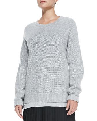 Honeycomb-Pattern Knit Sweatshirt