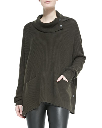 Oversize Snap-Turtleneck Sweater, Foliage