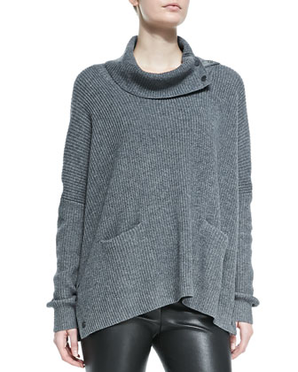 Oversize Snap-Turtleneck Sweater, Med Heather Gray