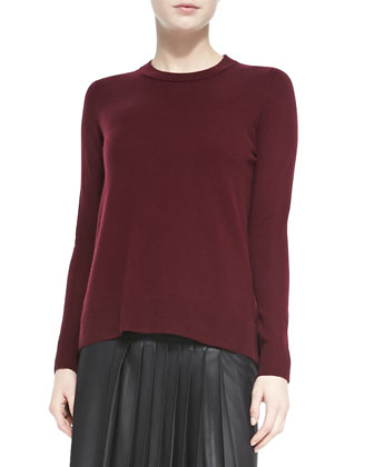 Cashmere Overlay-Crewneck Sweater & Leather Pleated Skirt