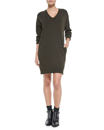Dropped-Sleeve V-Neck Tunic Sweater, Foliage
