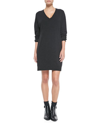 Dropped-Sleeve V-Neck Tunic Sweater, Dark Gray