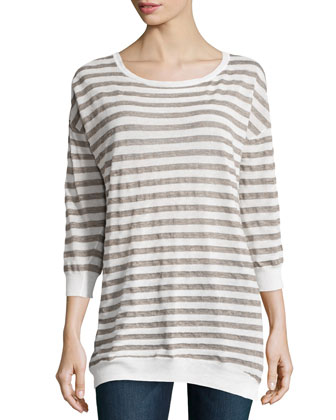Striped Linen-Blend Sweater, Linen White/Fatigue