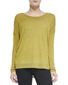Crewneck Long-Sleeve Sweater, Chartreuse