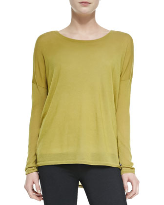 Crewneck Long-Sleeve Sweater, Chartreuse