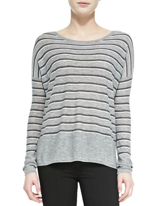 Striped Bateau-Neck Sweater, Silverstreak