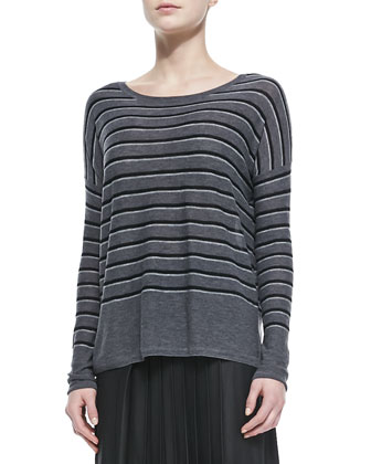 Cashmere Jacquard Scarf, Sweater-Back Drape-Neck Coat, Striped Crewneck ...