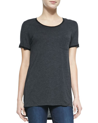 Mixed-Media Short-Sleeve Tee, Black