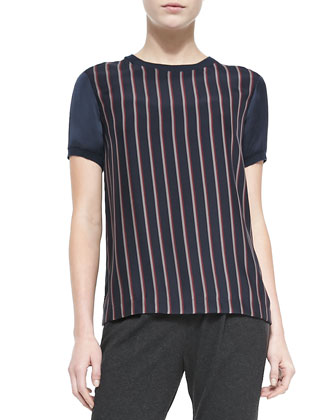 Regimental-Stripe Crewneck Blouse