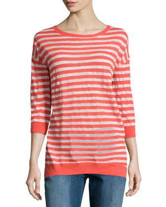 Striped Bracelet-Sleeve Sweater, Coral