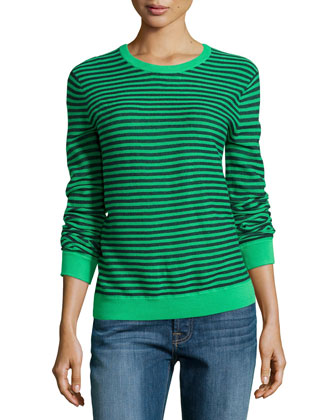 Gauge Knit Mini-Stripe Sweater, Grass/Navy