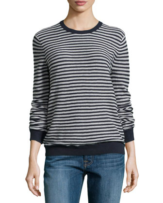 Long-Sleeve Mini-Stripe Sweater, Navy/Chalk