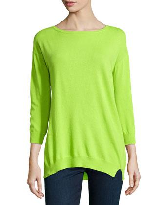 Twist-Seam Knit Sweater, Lime Green
