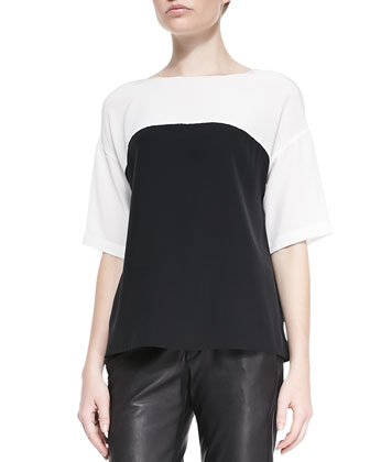 Silk Colorblock Short-Sleeve Blouse