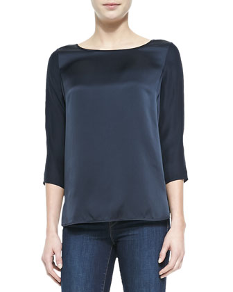 Silk Button 3/4-Sleeve Blouse, Coastal