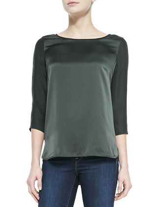 Silk Button 3/4-Sleeve Blouse, Foliage