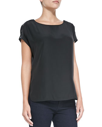 Silk Button-Detail Blouse, Black