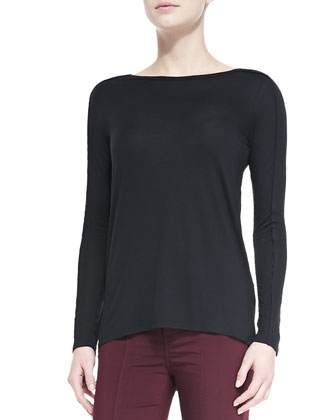 Seamed-Sleeve Jersey Tee, Black