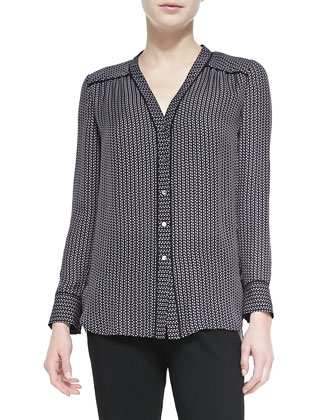 Piped-Trim Printed Silk Blouse
