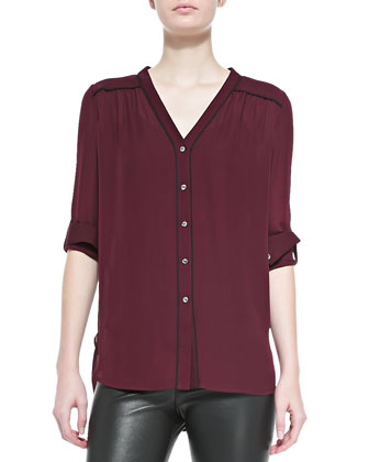 Silk Contrast-Piping Blouse, Shiraz-Black