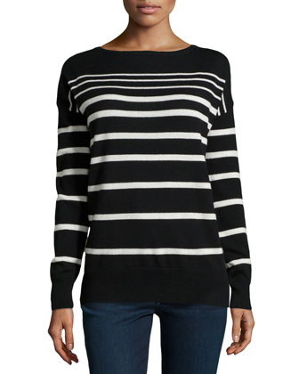 Striped Knit Bateau Sweater, Black/Chalk