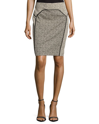 Satin-Bound Dotted Jacquard Pencil Skirt, Khaki