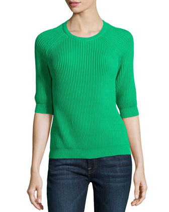 Half-Sleeve Crewneck Sweater, Grass