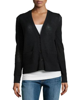 Pointelle Knit Button Cardigan, Black