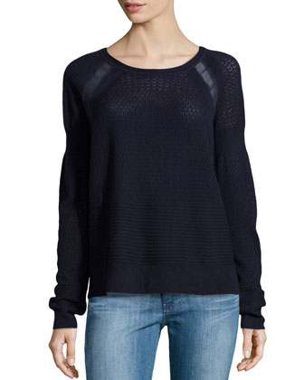 Wool Lace Sweater, Navy