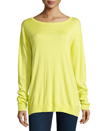 V-Back Knit Arched Sweater, Daffodil