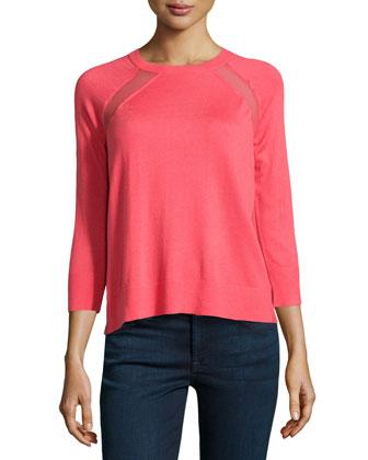 Chiffon-Panel Raglan Sweater, Coral