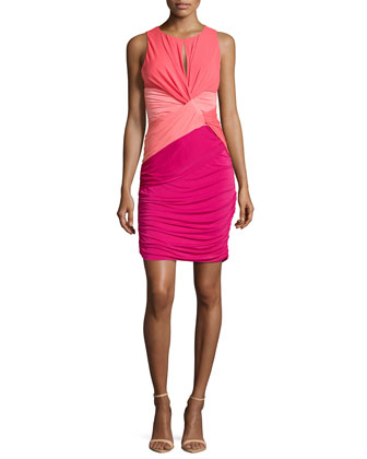 Colorblock Twist-Waist Dress, Poppy/Guava/Raspberry
