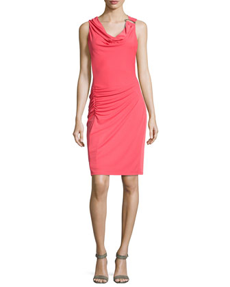Ruched Ring-Shoulder Dress, Poppy