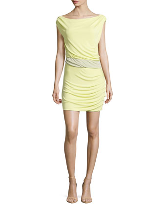 Off-Shoulder Draped Dress, Chamomile/Pistachio