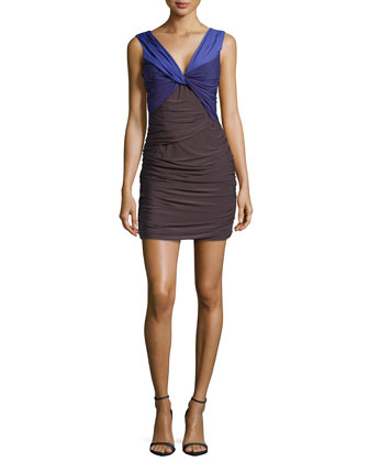 Sleeveless Twist-Front Dress, Slate/Violet
