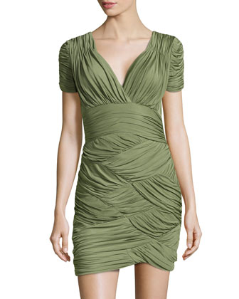 Scallop-Ruched Sheath Dress, Willow