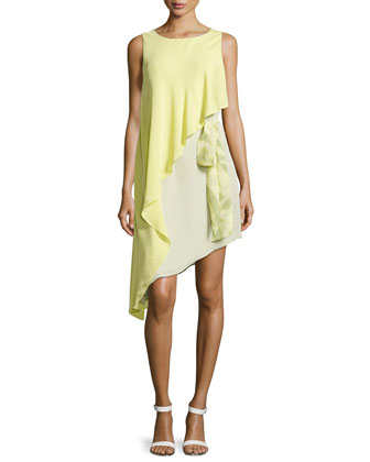Asymmetric Crepe Dress, Chamomile/Pistachio