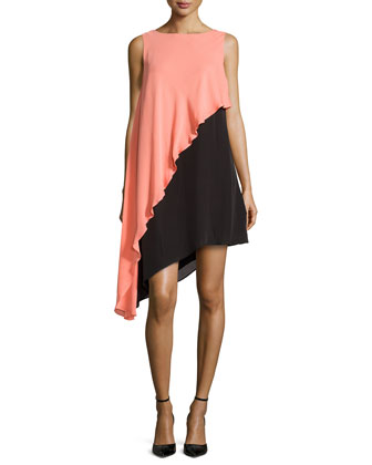 Asymmetric Colorblock Tank Dress