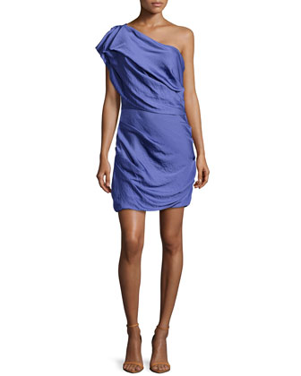 Ruched One-Shoulder Dress, Violet