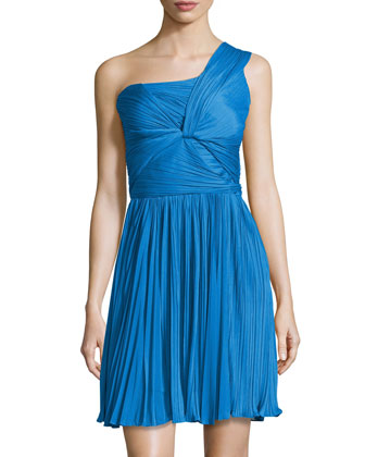One-Shoulder Pleated Center Twist Dress, Aquamarine