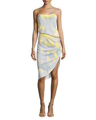 Asymmetric Printed Pleat-Detail Dress, Sky Blue