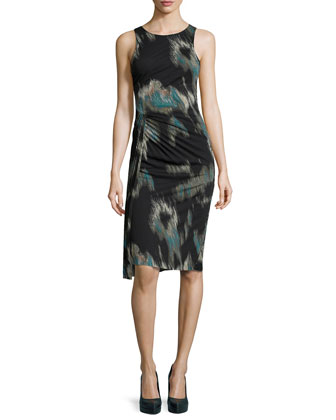 Printed Side-Twist Pleat Dress, Black Ocean