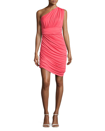 One-Shoulder Draped Dress, Poppy