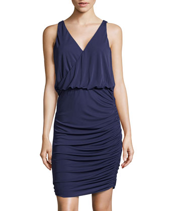 Jersey Blouson-Bodice Dress, Midnight